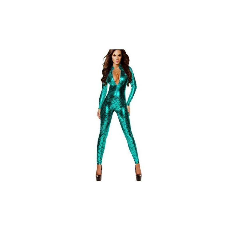 Catsuit metalická kombinéza ve stylu Rihanny s hadím vzorem