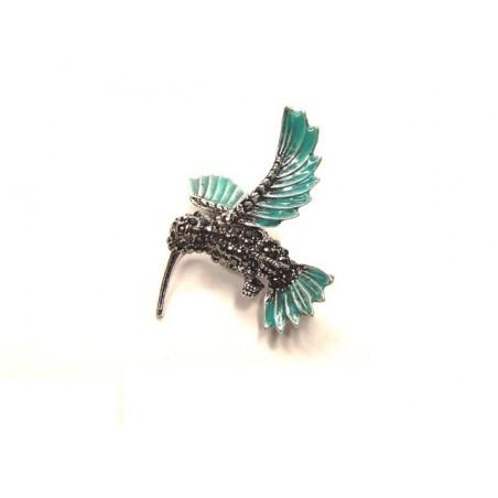 Brož pták kolibřík se zirkony