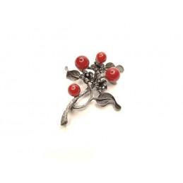 Brož větévka s květy a perlami vínová a šedá