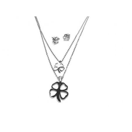Souprava šperky přívěsek a náušnice čtyřlístek