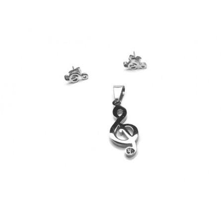 Souprava šperků přívěsek a náušnice houslový klíč se zirkonem