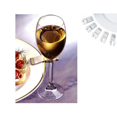Držák skleničky na talíř, nerezový raut klip, party, festivaly