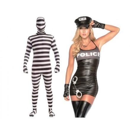 Kostým erotický sexy policistka a catsuit vězeň, pro dva