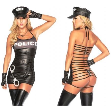Kostým erotický sexy policistka a catsuit vězeň
