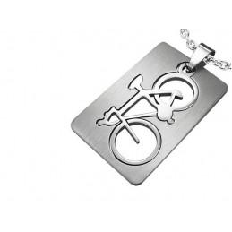 Přívěsek destička hipster kolo, favorit, s vyříznutým motivem, z chirurgické oceli