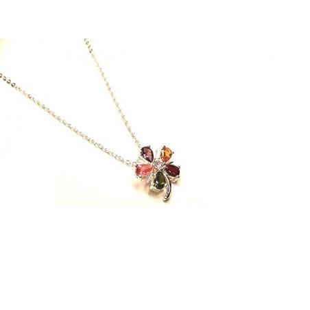 Náhrdelník jemný s přívěskem květina, kytka s barevnými kamínky