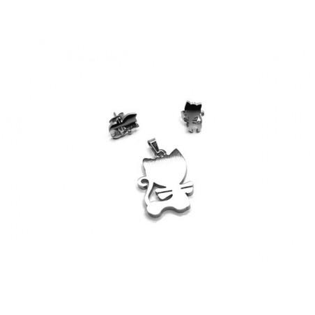 Set šperky přívěsek a náušnice kočka, kočička z chirurgické oceli