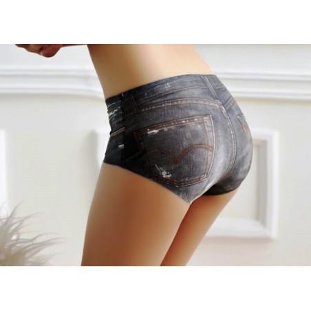 Dámské bezešvé kalhotky s potiskem, džínové, kovbojské