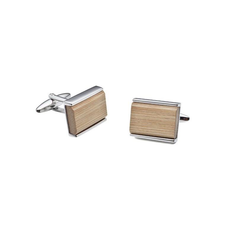 Manžetové knoflíčky bambusové obdélníkové na gravír