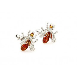 Manžetové gombíky pre včelárov, včela s kamienkami, farebná