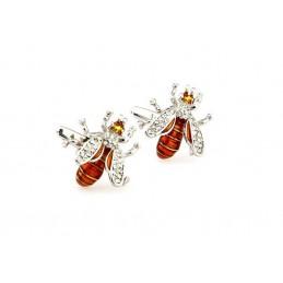 Manžetové knoflíčky pro včelaře, včela s kamínky, barevná