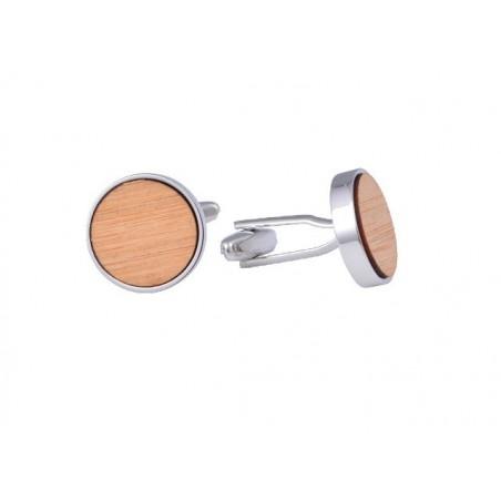Manžetové knoflíčky bambusové kolečko na gravírování