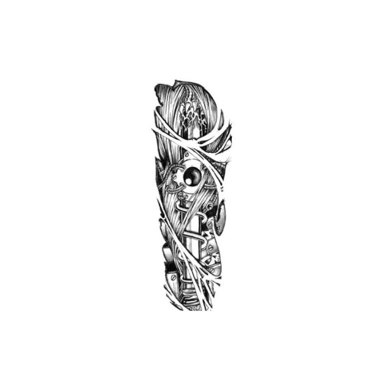 Tetovací rukáv, falešné tetování na paži, stehno, lýtko, design stroj, robot