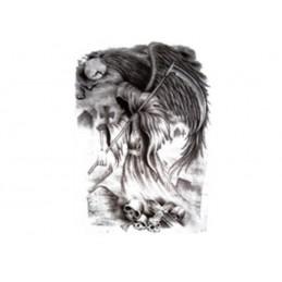Tymczasowy tatuaż na całe plecy z motywem śmierci z kosą, kostucha