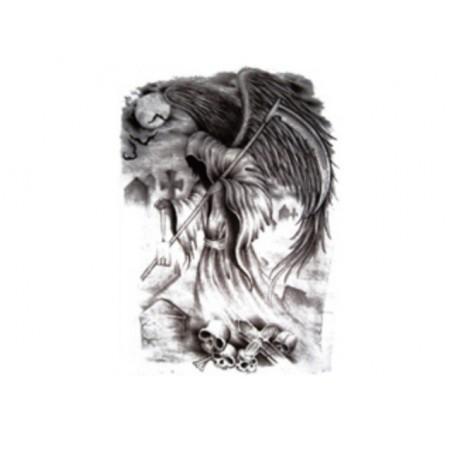 Falešné tetování design Smrtka, Smrťák, Death na lýtko, lopatku, stehno