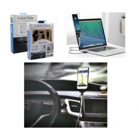 Kabel USB nabíjecí a datový kovový, stojan, držák do auta, ruka, konektor typ C