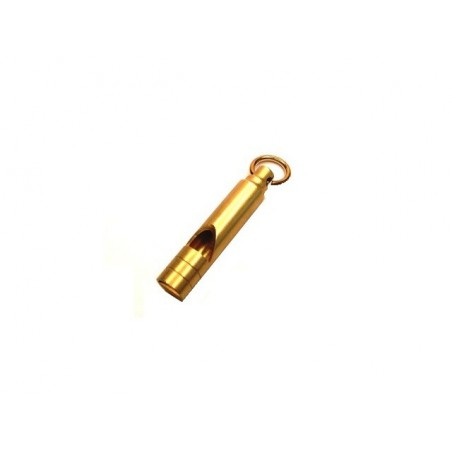 Píšťalka nouzová mosazná záchranná, přívěsek na klíče, na krk,
