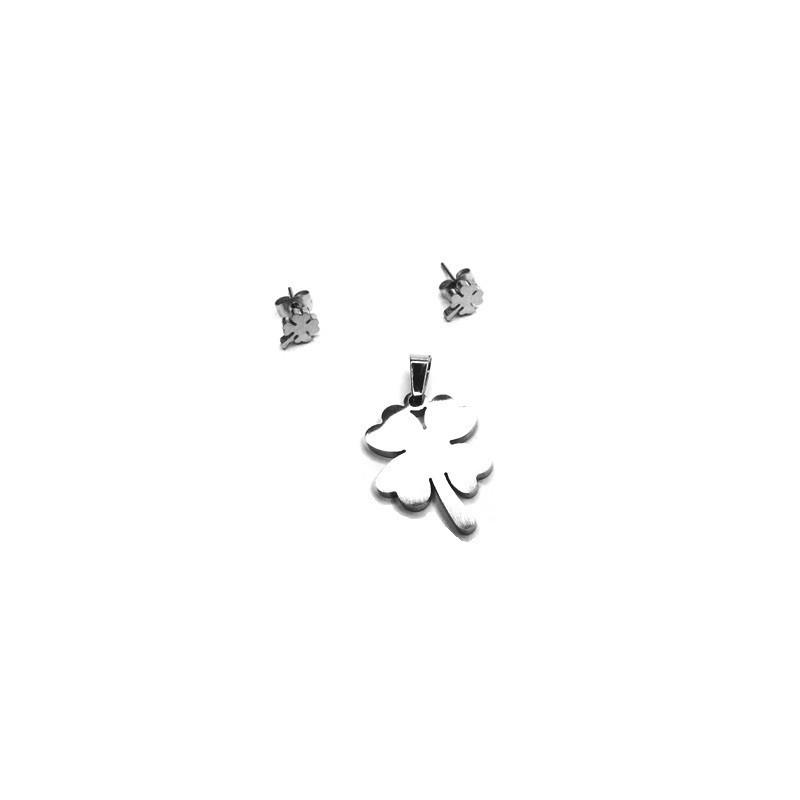 Souprava šperky přívěsek a náušnice pecky čtyřlístek z nerezové oceli