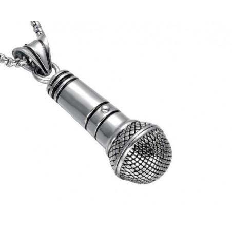 Přívěsek velký mikrofon s řetízkem, pro zpěváky, hiphopery, rappery, beatboxery