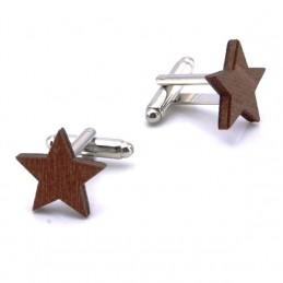 Manžetové gombíky drevená hviezda