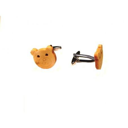 Manžetové knoflíčky dřevěné, medvídek, méďa