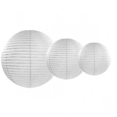 Lampión papierový guľatý biely 22, 30, 40cm