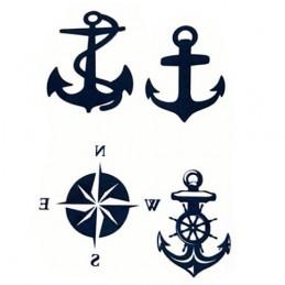 Zmywalny tatuaż w stylu marynistycznym ster i kotwica