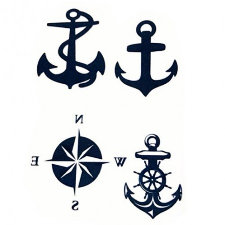 Nalepovací tetování námořnické, jachtařské, kotva, kompasová růžice