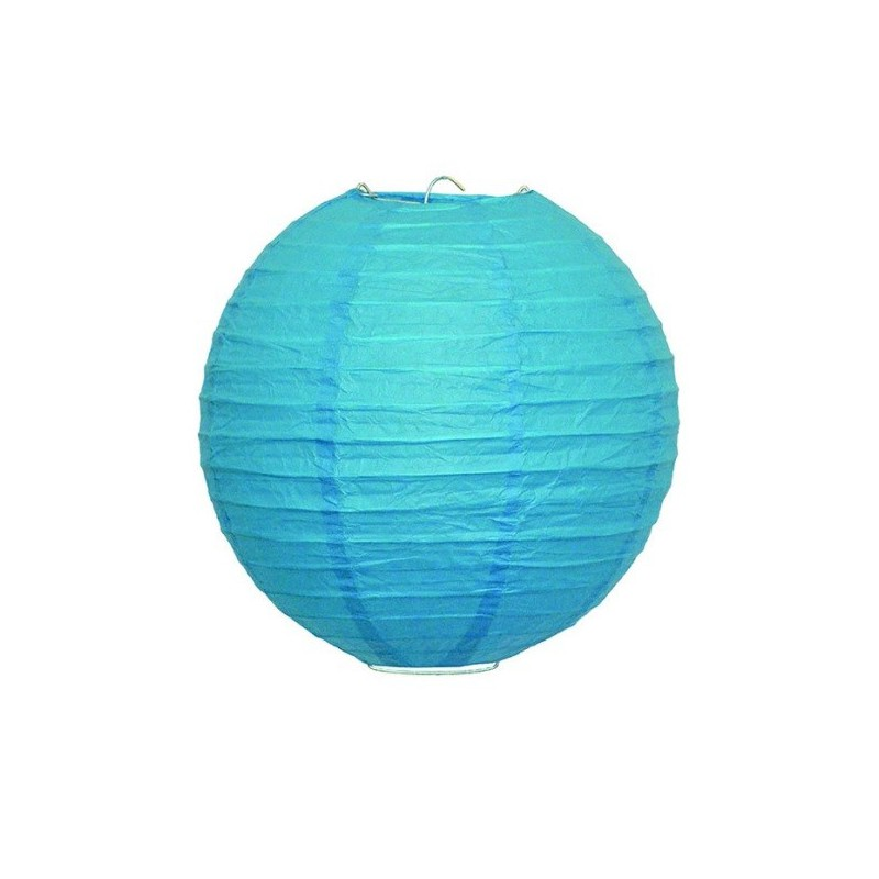 Lampion závěsný kulatý papírový modrý
