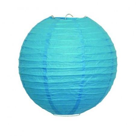 Lampion závěsný kulatý papírový světle modrý 30, 40cm