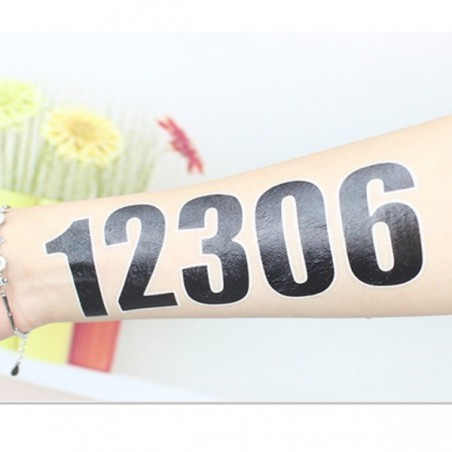 Nalepovací, dočasné tetování, sada čísel 0-9, startovní čísla