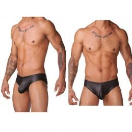 Pánské lesklé černé erotické sexy striptérské slipy Briefs Shiny Eros