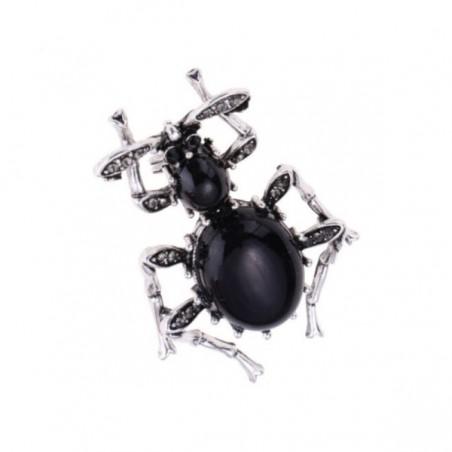 Brošňa čierna chrobák bystruška so zirkónmi