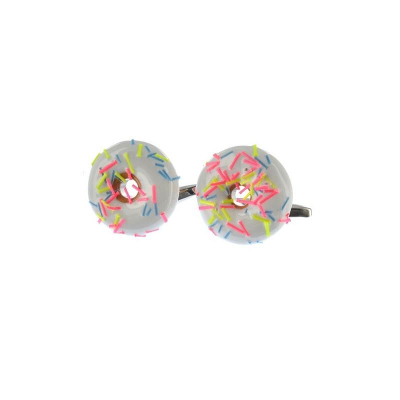Manžetové knoflíčky koláček donut s bílou polevou
