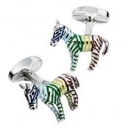 Manžetové gombíky zebra, farebná, pruhovaná