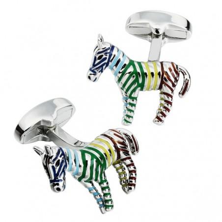 Manžetové knoflíčky zebra, barevná, pruhovaná