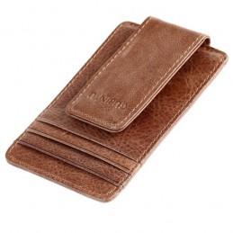 Peňaženka mini, puzdro na karty, RFID, s magnetickým klipom, z pravej kože
