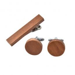 Pánský set ze dřeva manžetové knoflíčky kulaté a spona na kravatu