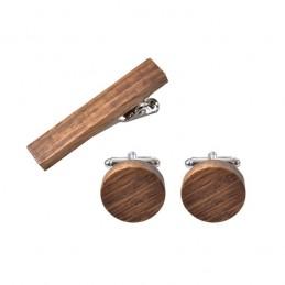 Dřevěný set manžetové knoflíčky kruh a spona na kravatu