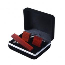Pánsky set z dreva manžetové gombíky okrúhle a spona na kravatu