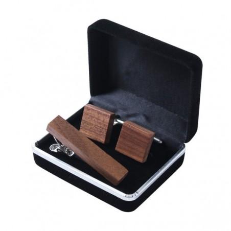 Pánský set ze dřeva manžetové knoflíčky čtvercové a spona na kravatu