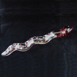 Skleněné dildo vlnité Red Nubby Snake
