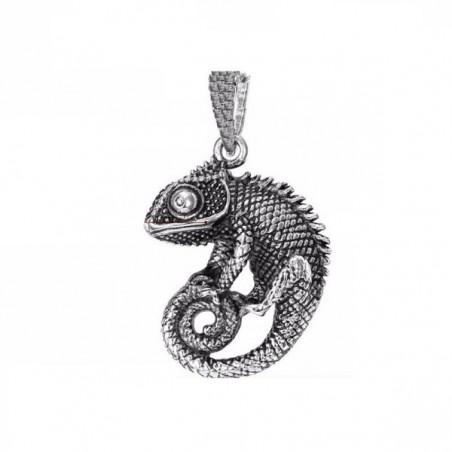 Přívěsek velký chameleon nerezový, patinovaný