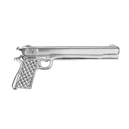 Spona na kravatu s motivem automatická zbraň, pistole