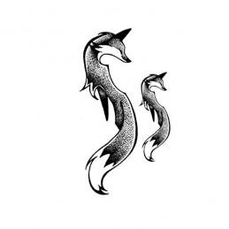 Nalepovacie tetovanie líška s chvostom, líštička