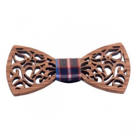 Motýlek pánský dřevěný s filigránovým vzorem, s vyřezávaným motivem