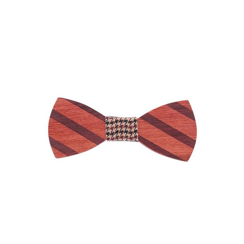 Motýlek pánský dřevěný klasik proužky, s pruhy