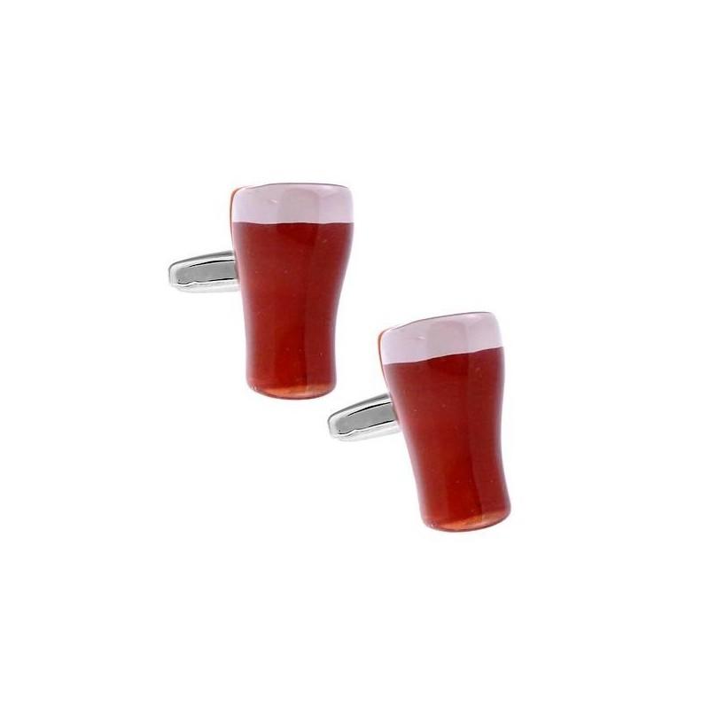 Manžetové gombíky čapované pivo, poháre s pivom