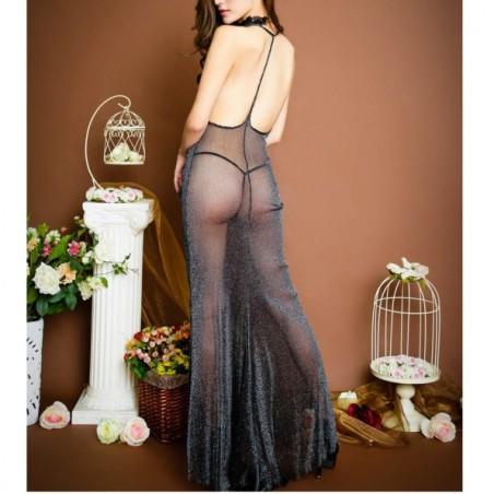 Erotická noční košilka třpytivá, blýskavá, průhledná