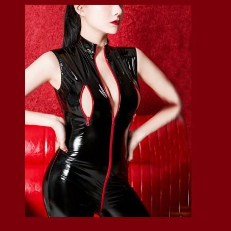 Catsuit erotický se zipem přes rozkrok a prsa, pro dominu